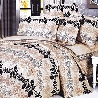 Beige Brown Classic, 100% Cotton 4PC Duvet Cover Set (Full Size)